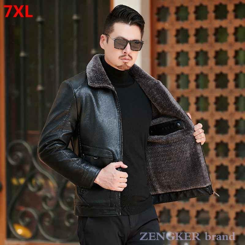 Зимний новый мужчина плюс размер толстая кожаная куртка лавочки мода повседневная плюс бархатная кожаная куртка 7xL 6xL 5XL кожаная кожаная куртка