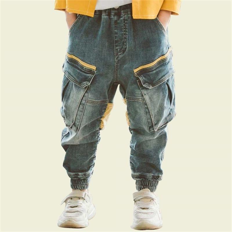 Boy Fashion Patchwork Cargo Pantalons Enfants Spring Automne Casual Jeans pour enfants pour garçons 6 8 10 12 14 ans 201209