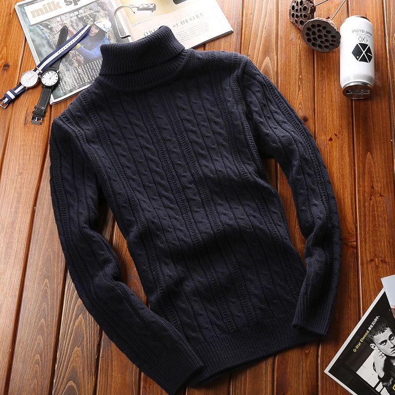 Laamei Herbst Warme Rollkragenpullover Männer Mode Mode Massiv gestrickte Pullover 2020 Casual Double Collar Slim Pullover Jumper Kleidung