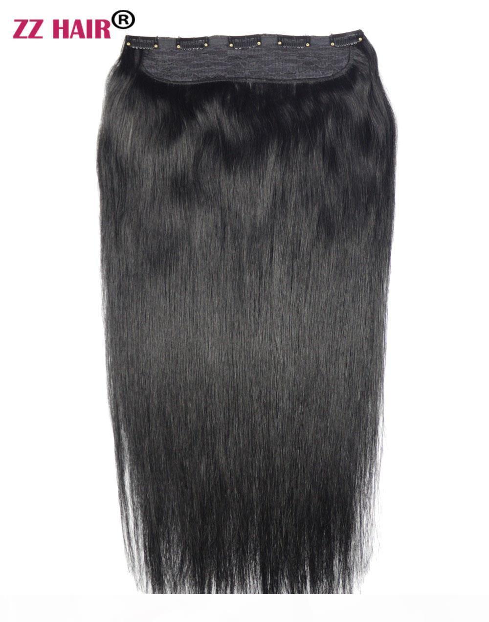 """16 """"-28"""" 100% бразильские реми люди человеческие волосы 180g 1 шт. Установите клипы в наращивание человеческих волос Один кусок волос 5 клипов натуральные прямые"""
