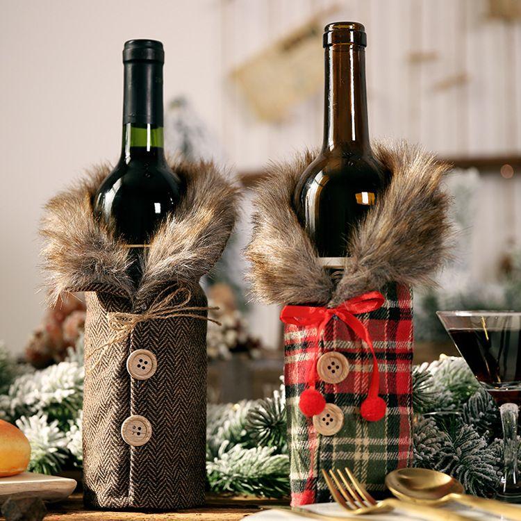 보풀 크리 에이 티브 와인 병 커버 패션 크리스마스 장식과 함께 활 격자 무늬 리넨 병 의류와 DHL 무료 창조적 인 새로운 와인 커버