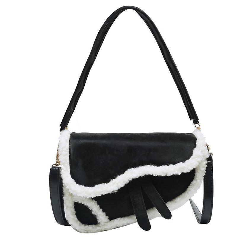 HBP Women Saddle Bag Plush Patchwork Shoulder Bag Fashion Handbag Purse Girls Wallet Zipper Crossbody Bags Free shipping