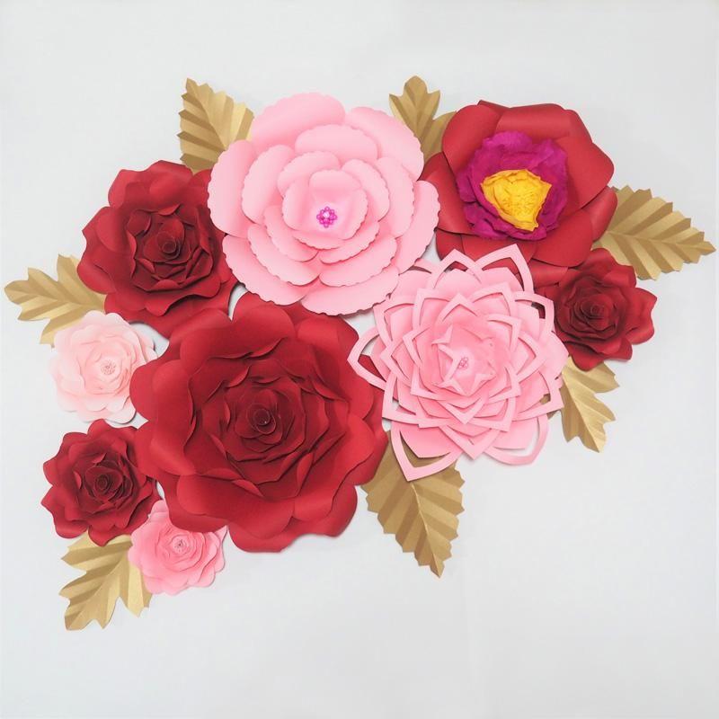 Fiori decorativi Corone 2021 Carta gigante Sfondo artificiale 9pcs + 7 foglie per arredamento per eventi di nozze Bambino Nursery Windows Visualizzato PAGF0