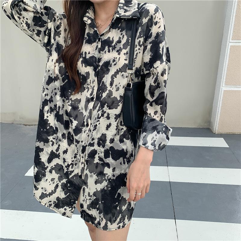 Dames shirt Rétro Hong Kong Summer Style Nouveau style extérieur Wear 2020 Tie-dye Top à manches longues Early Autumn Chemisier