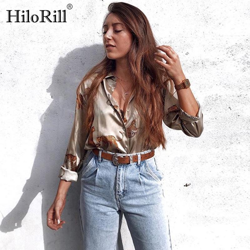 Hilorill Leopard Stampa camicetta Donne manica lunga ufficio moda camicia femminile abbassamento del colletto Animal Plus Size Ladies Top Blusas 201201