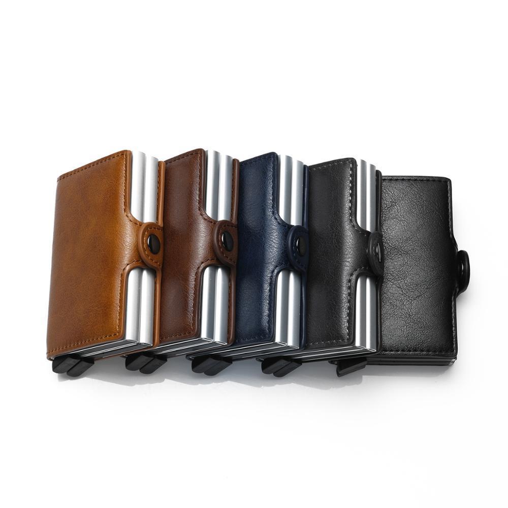 2020 hommes et femmes d'affaires Carte de crédit Porte RFID Métal Double Aluminium Boîte en cuir Crazy Horse Carte Voyage Wallet