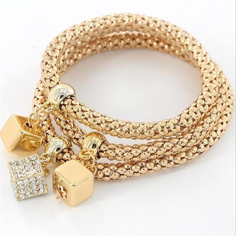 1 Set Vintage Designer Rhinestones Gold Farbe Charm Glatte Würfel Quadrat Armband Popcorn Kette Schmuck Für Frauen Armband 55mm