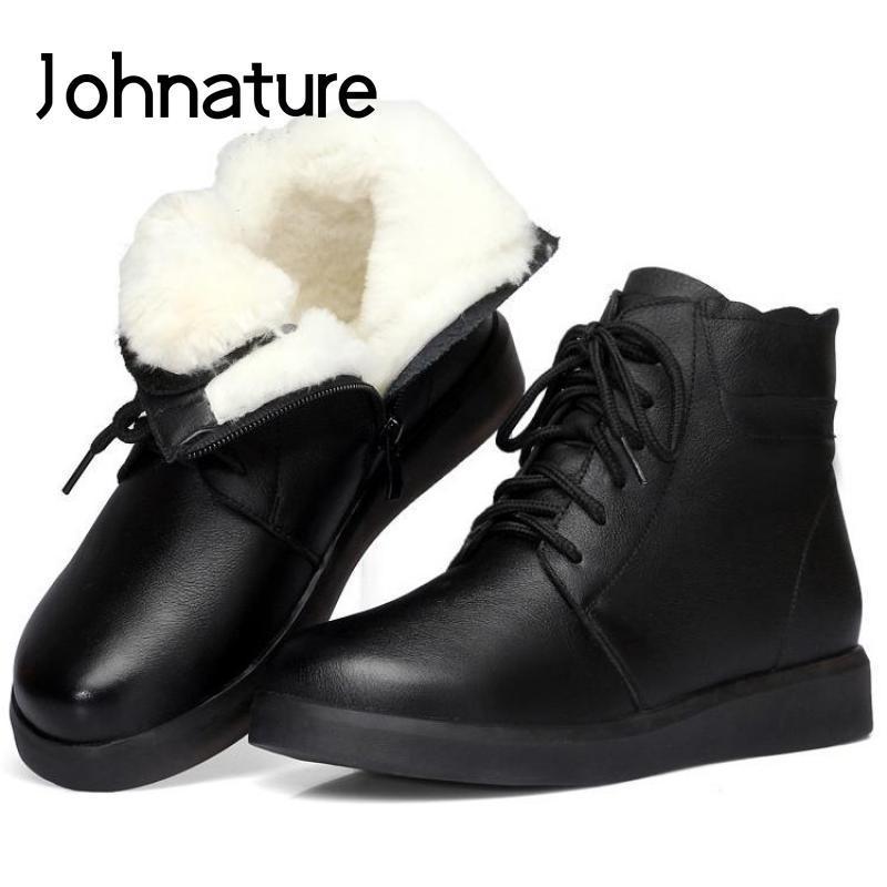 Johnature Inverno tornozelo grosso Mulheres Botas 2020 nova de couro genuíno Calçados Femininos Zip Toe Rodada lisa com Cross-amarrado Plataforma Botas