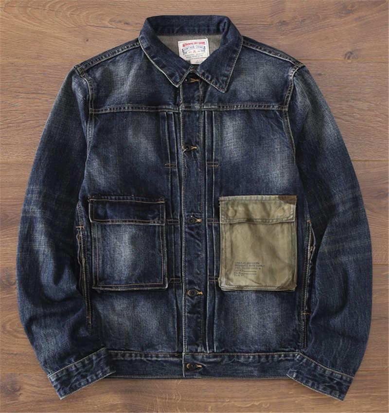 Sonbahar ve kış yeni erkek eski kot ceket ağır renk eşleştirme cep gençlik ceket