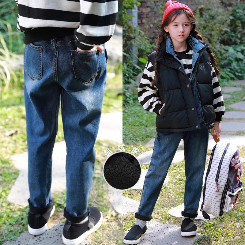 Pt6326 coreana felpa otoño recta / invierno 2020 nuevos neutros casuales engrosado pantalones vaqueros padres e hijos