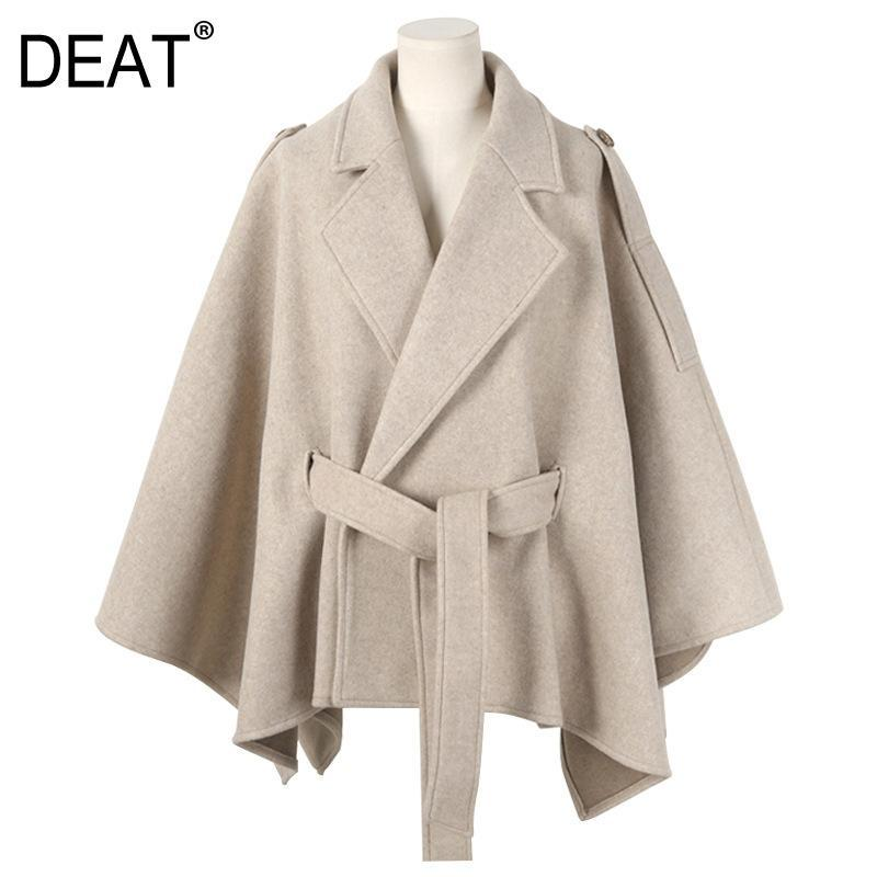 [DEAT] 2020 Yeni Sonbahar Moda Kadın Yün Coat Cloak Gevşek Dantel Isınma kalınlaşmış Katı Casual Bırakma omuz İnce TX029