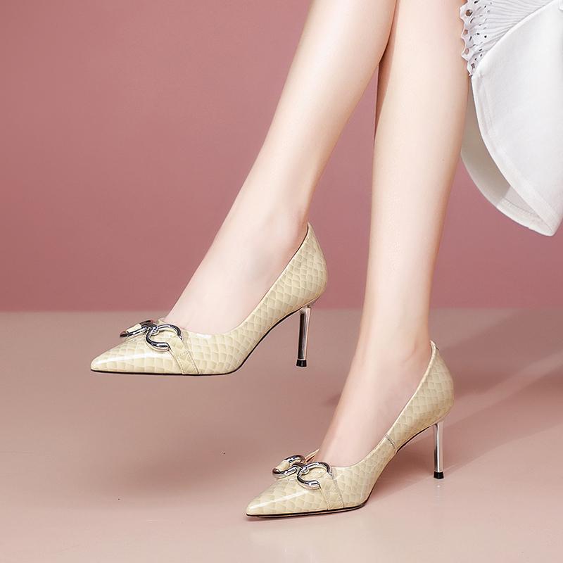 2021 kadın ayakkabı 22-24.5 cm standart timsah topuk bombaları metal halka stiletto xw95