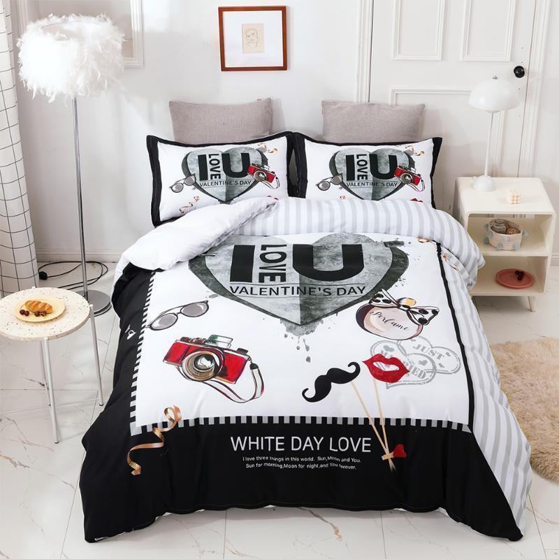 Yatak Seti Sevgililer Hediye Beyaz Günü Aşk Nevresim Çift King Boyut Özel Özel Yatak Ketenleri 3D Yorgan Ev Tekstili