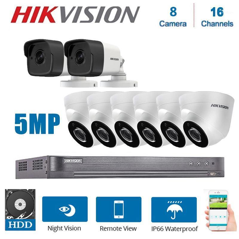 أنظمة Hikvision 16-Channel XVR DS-7216HUHI-K2 مع 8 قطع هجين 5MP 4 في 1 ليلة للرؤية CCTV كاميرات مراقبة نظام كيت 1