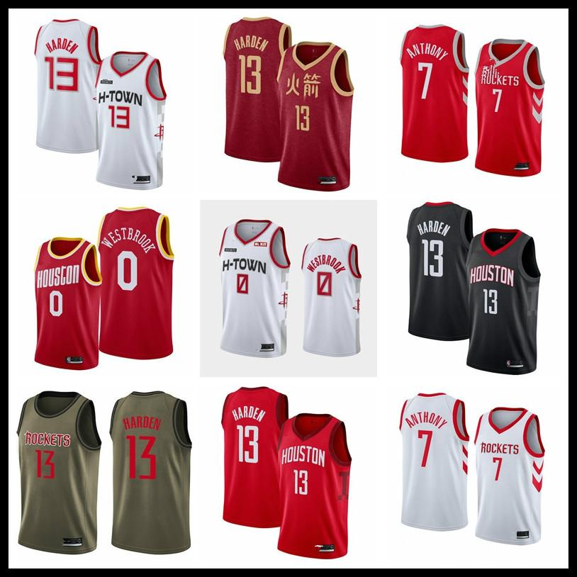 HoustonRocketsHommes 0 Russell Westbrook 2019 Harden Association Carmelo Anthony White Basketball Jersey City