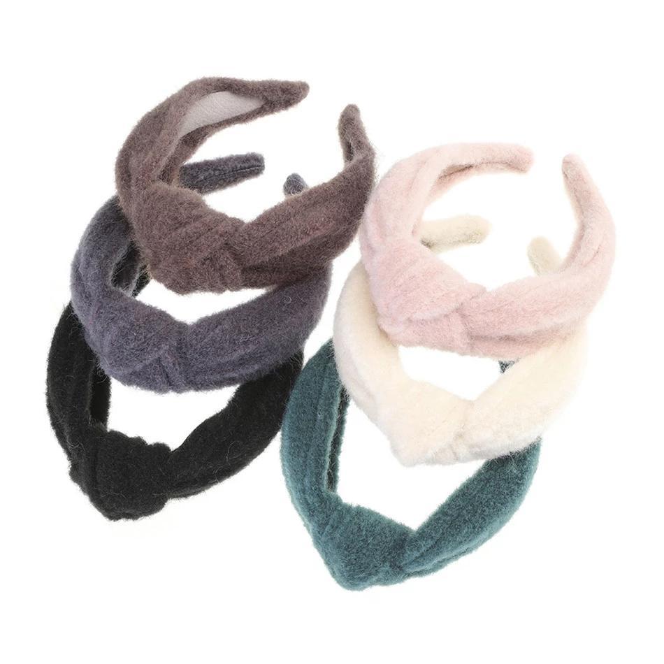 Estilo de la vendimia de lana Hairband nudo superior del aro de la cabeza del turbante de piel de visón invierno con banda de sujeción para muchachas de las mujeres de color sólido tocado