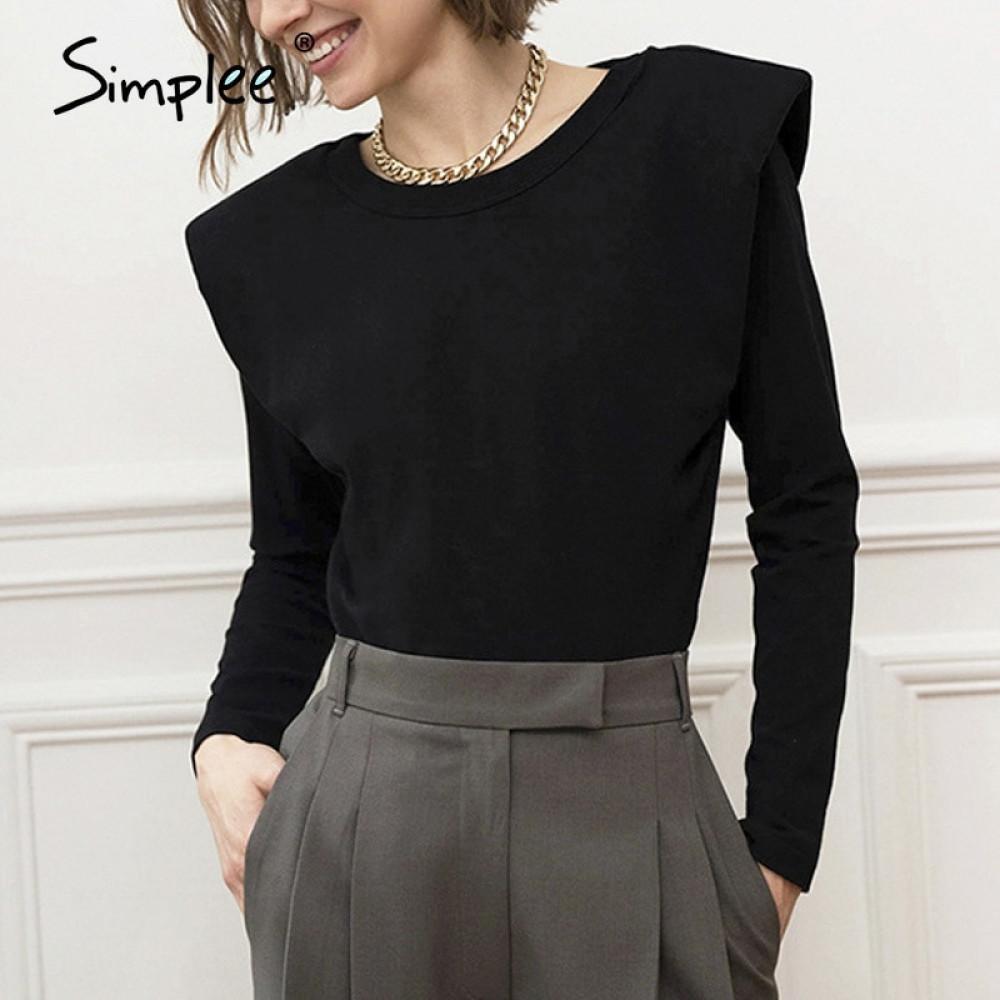 Simplee Fashion Black Shirt Top Mujeres Otoño Invierno O-cuello Camisa de manga larga Femenino Estilo de High Street Slim Fit Top Office Ladies 200930