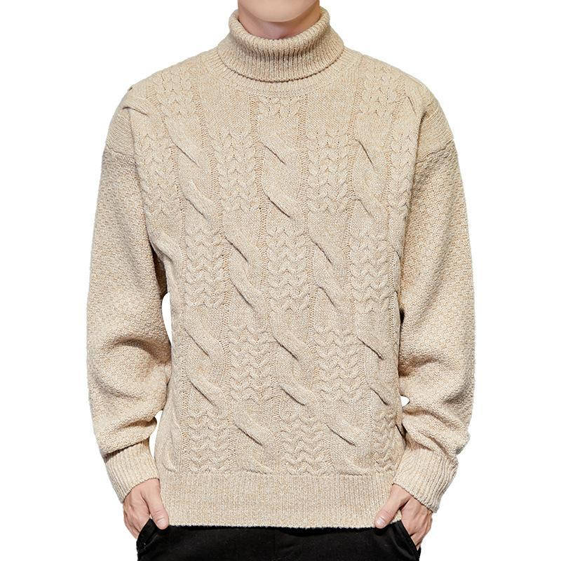 Mens Turtleneck Sweater Fashion Autumn Winter Solid Casual Knitted Sweater Men Pullovers Men Turtleneck Geometric Knit