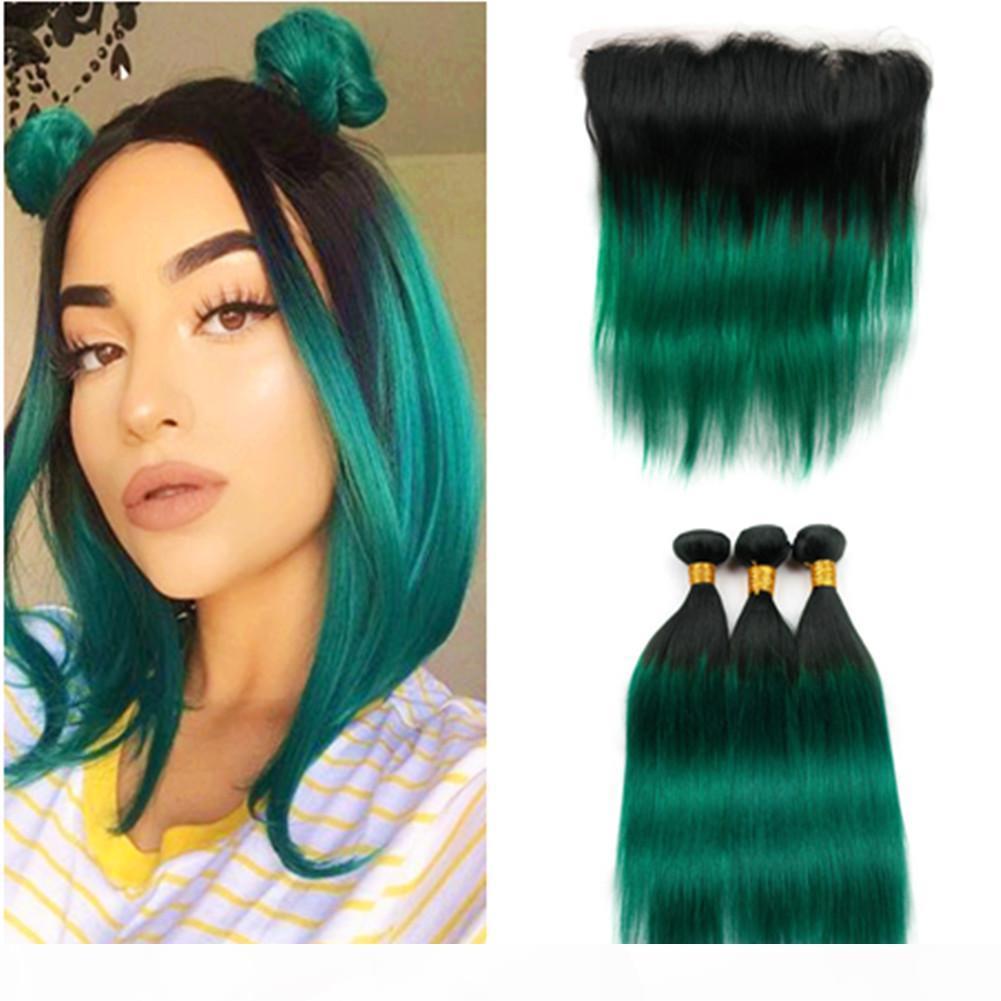 # 13x4 Dantel Frontal ile Koyu Yeşil Ombre İnsan saç örgüleri 3Bundles için Frontal Black ile 1B Yeşil Ombre Düz Brezilyalı Saç atkıları
