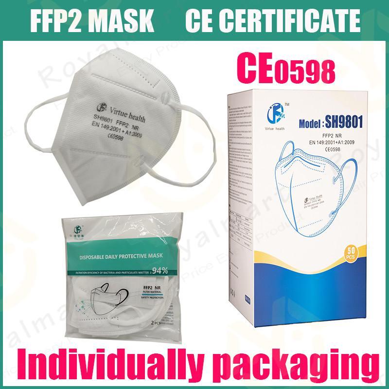 FFP2 Certificatore CE Maschera KN95 Designer Designer Maschera facciale N95 Respiratore Filtro anti-fogia Anti-Foges e influenza antipolvere