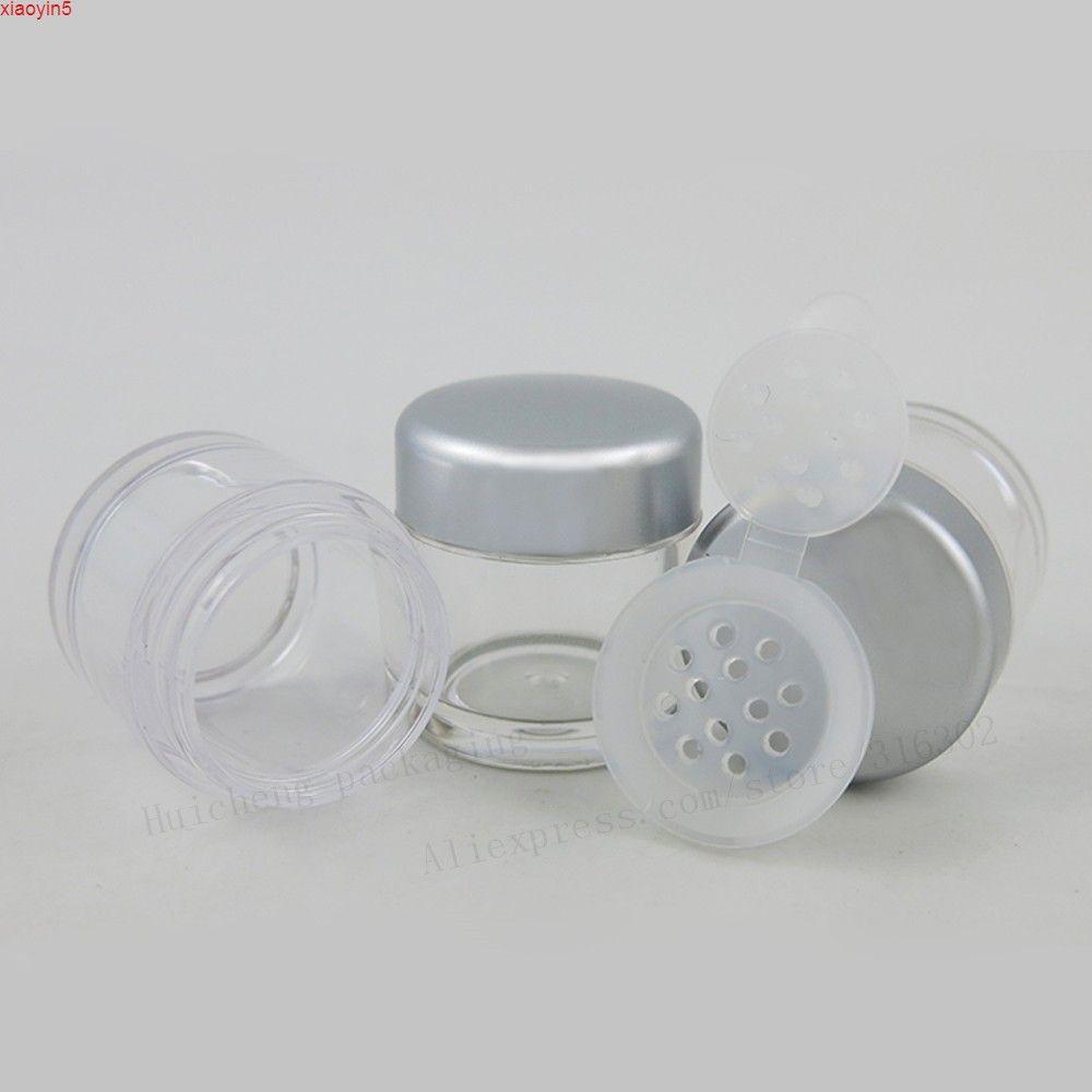 50 х 5 г чистое образец составляют пластиковую банку путешествия 5 мл порошок порошок с 12 отверстиями серебряный кепки косметический мини-кремовый порошковый контейнер.