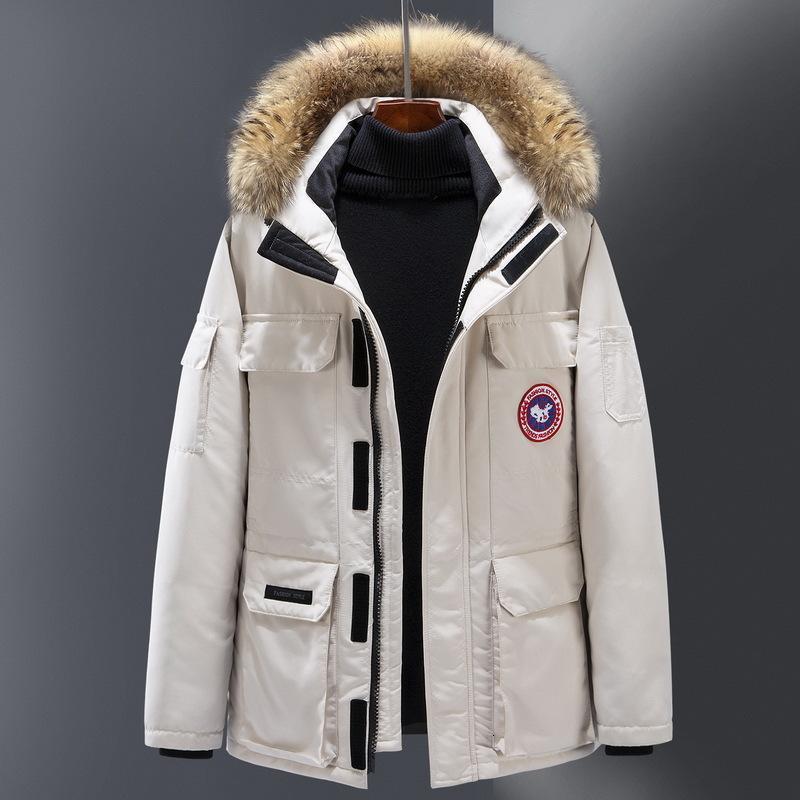 Kış 2020 Kapüşonlu İş Giysileri Severler Ceket Erkekler Gençlik Kanada Kaz Kısa Kalın Ceket Beyaz Ördek Aşağı