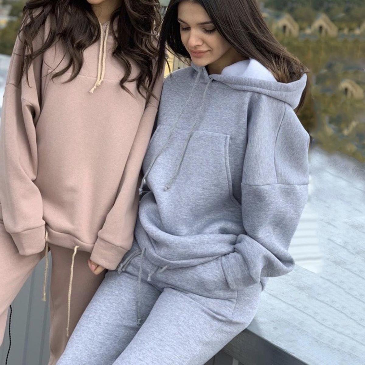 Zweiteiler Sport Suit Female Sweatshirt Maxi-Hoodie Outfits Pullover beiläufige Frauen-Trainingsanzug Winterkleidung Moda 201009