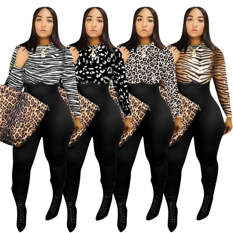 Frauen Body Designer Kleidung Mode Langarm Rundhals-Leopard druckte Multicolor Jumpsuit Sexy One Piece Pants Body F110601