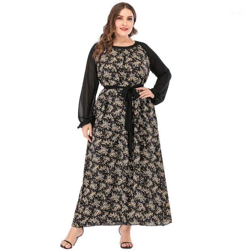 2020 herbst frau dress plus größe weibliche langarm patchwork floral druck casual kleid gürtel lose übergroß maxi lange kleider1