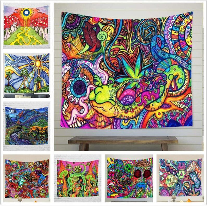 Psicodélico colorido colgar de la pared Tapiz salón dormitorio Decoración mural de la decoración Tapices de Bohemia del Hippie de la alfombra