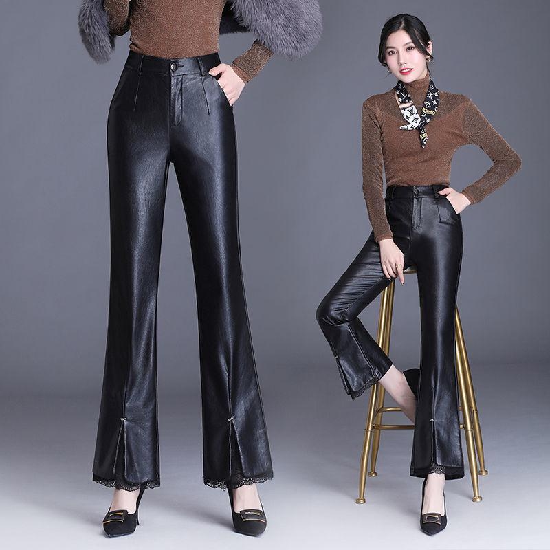 Frauenhose Capris 2021 Winter Frauen plus Größenknopf Faux-Leder-Farbenanzug Weibliche Warme Samt Dicke Stretch High Taille Hose S65