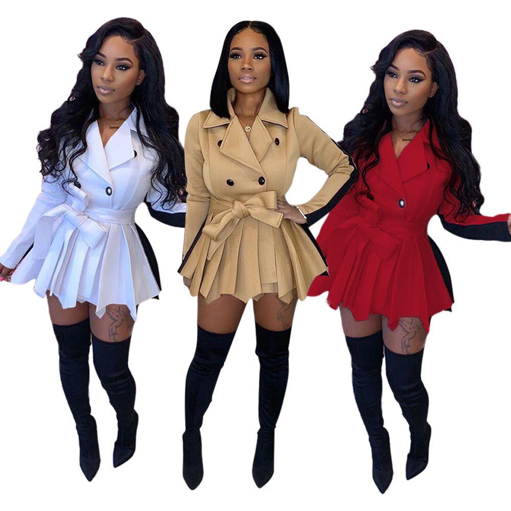 انن المرأة اللباس والأزياء سليم معطف لون التباين تنورة سترات خريف وشتاء كم طويل الأعلى السيدات بالاضافة الى حجم الملابس 89