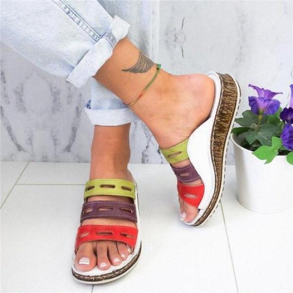 WDHKUN 2020 été femme Sandales Sandales Brochage Ladies Open Toe Shoes Casual Wedge plate-forme Slides Chaussures de plage Chaussures de Tennis Oxf NF2Z #