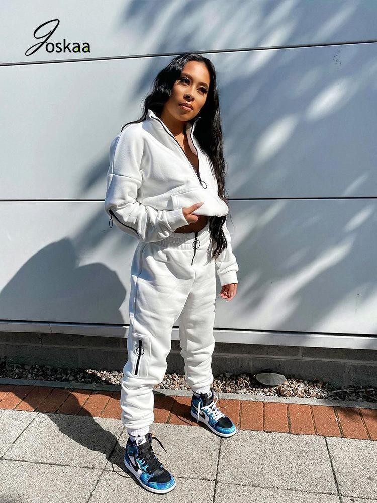 النساء رياضية جوزايز زائد حجم الملابس 2 قطعة مجموعة مقنعين سستة جيب طويلة الأكمام الصلبة مكدسة sweatpants صالات طويلة