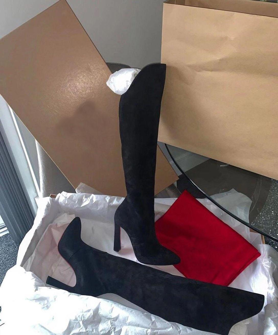 Зимняя мода Lady Red Bottom Загрузочный Элеонор Ботта Tall ботинка женщин замши высокие каблуки Более колена сапоги EU35-43, с коробкой