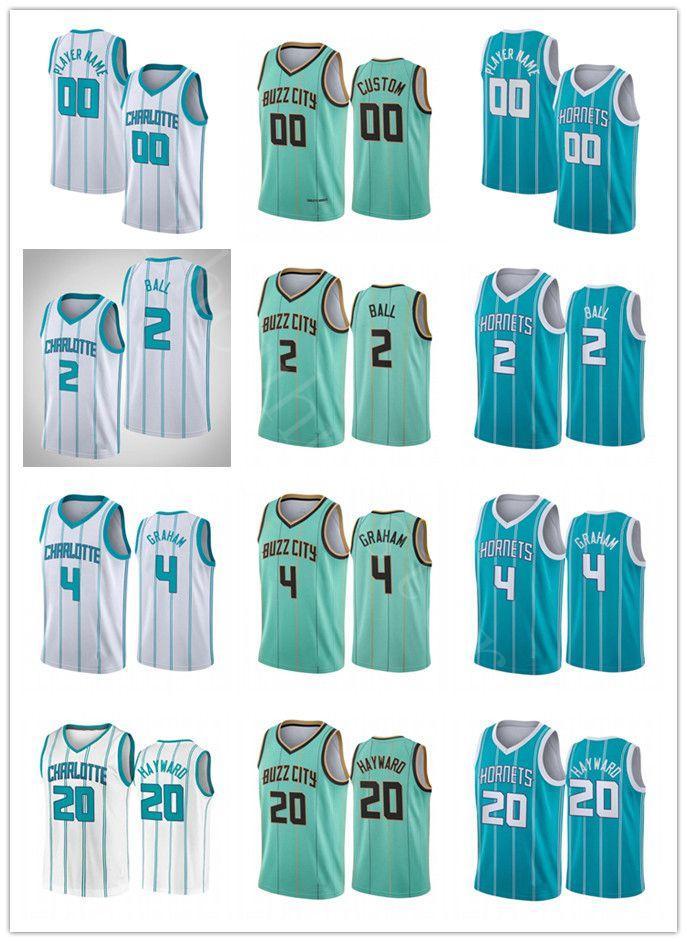 2020 2021 Toptan Taslak Seçim Erkekler Lamelo Topu Gordon Hayward Devonte Graham 2020/21 Şehir Swingman Basketbol Jersey Yeşil Buzz Yeni Üniforma