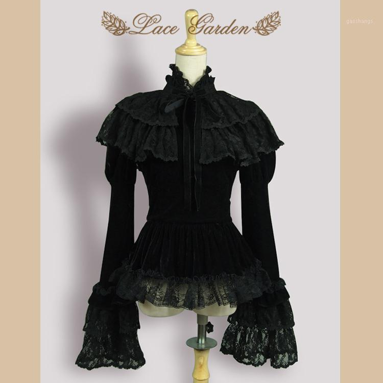 Vintage Siyah Kadife kadın Ceket Uzun Flare Sleeve Üst Katmanlı Dantel Fırfır Pelerin ile Dantel Garden1