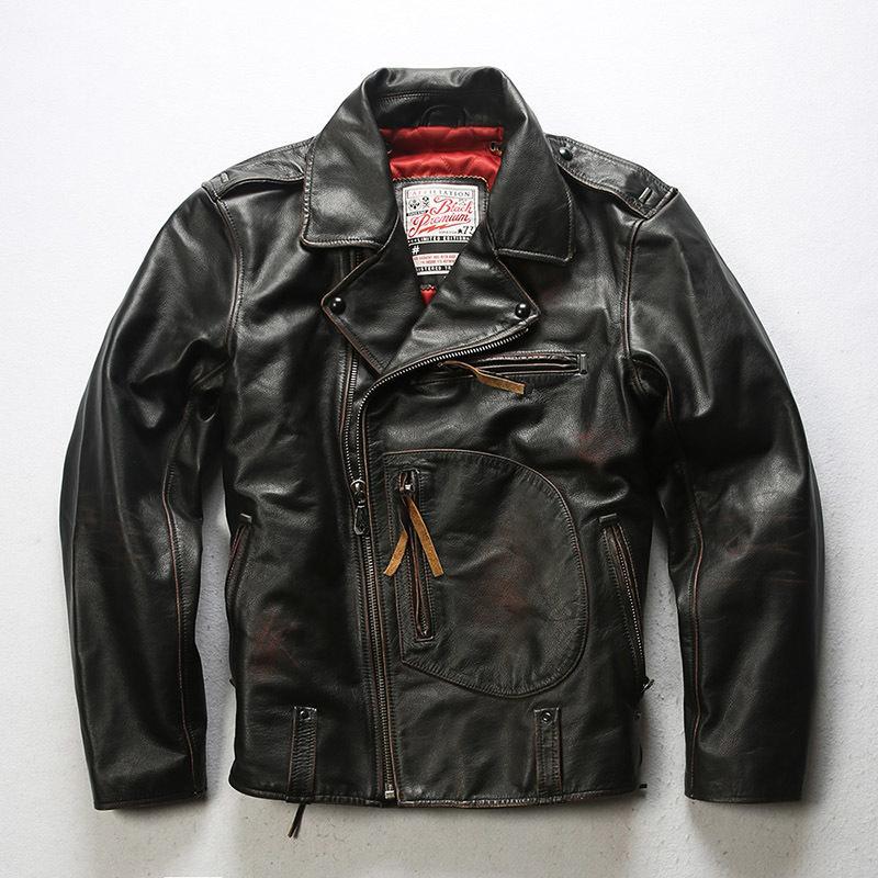 2020 New Vintage Brown hommes véritable veste moto en cuir Diagonal Zipper véritable peau de vache Slim Fit américain Motorcycle Jacket