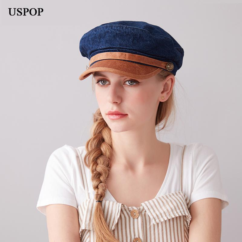USPOP 2020 casquillos del nuevo casquillo de las mujeres de moda vaquera vendedor de periódicos viejos hombres de la vendimia lavables tapas visera de la PU de cuero de ala del sombrero boinas octogonales