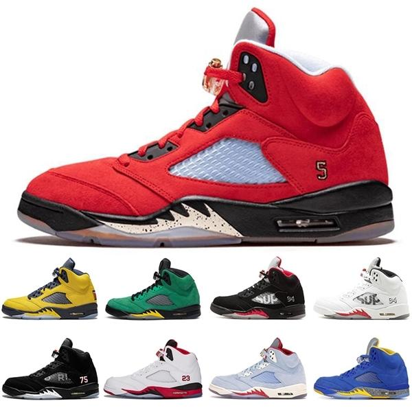 Jumpman 5 5S Top 3 Feu Red Michigan Mens Sport Chaussures Sport Oregon Ducks Snakeskin \ Grossistes \ Rètro Sneakers Formateurs