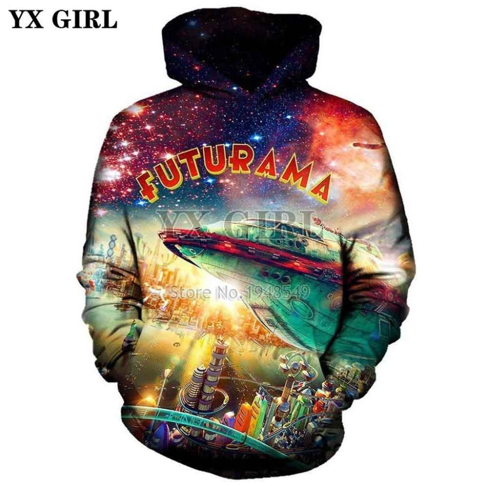 YX GIRL Drop shipping New style Fashion Hoodie futurama city Creative Print 3d Men/Women Casual Hooded Sweatshirt 201020