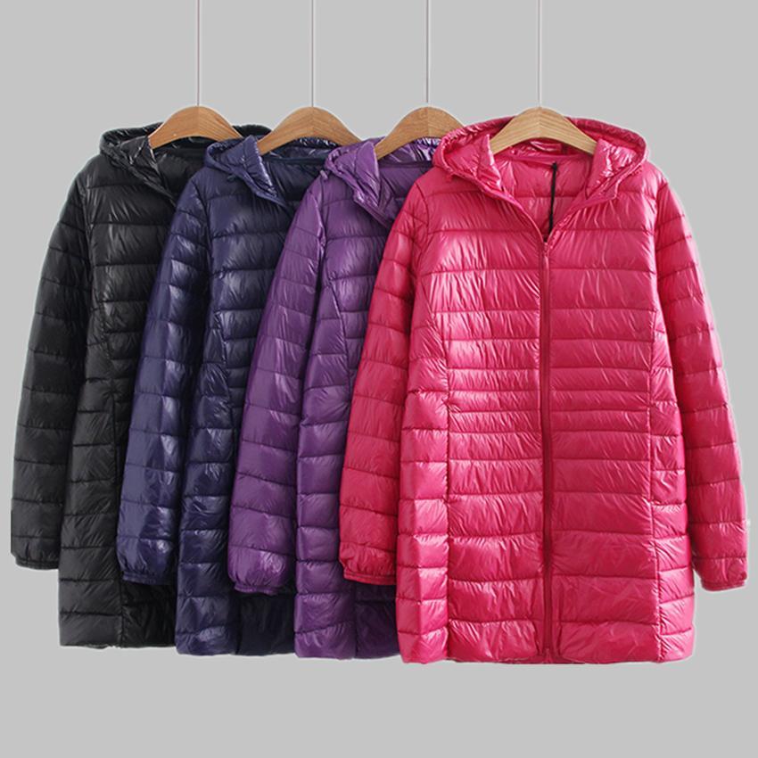 Neue Herbst-Winter-Plus Size 6xl Jacket Women Ultra Light weiße Ente Daunenmantel Parkas Lange dünne mit Kapuze Weiblich Outwear Rh1340