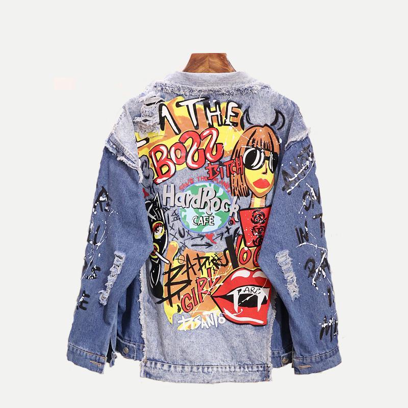 Мода граффити аппликаций Hip Hop Жан куртка женщин Осень стирального Материал джинсовой куртка Unisex Casual Streetwear 201013