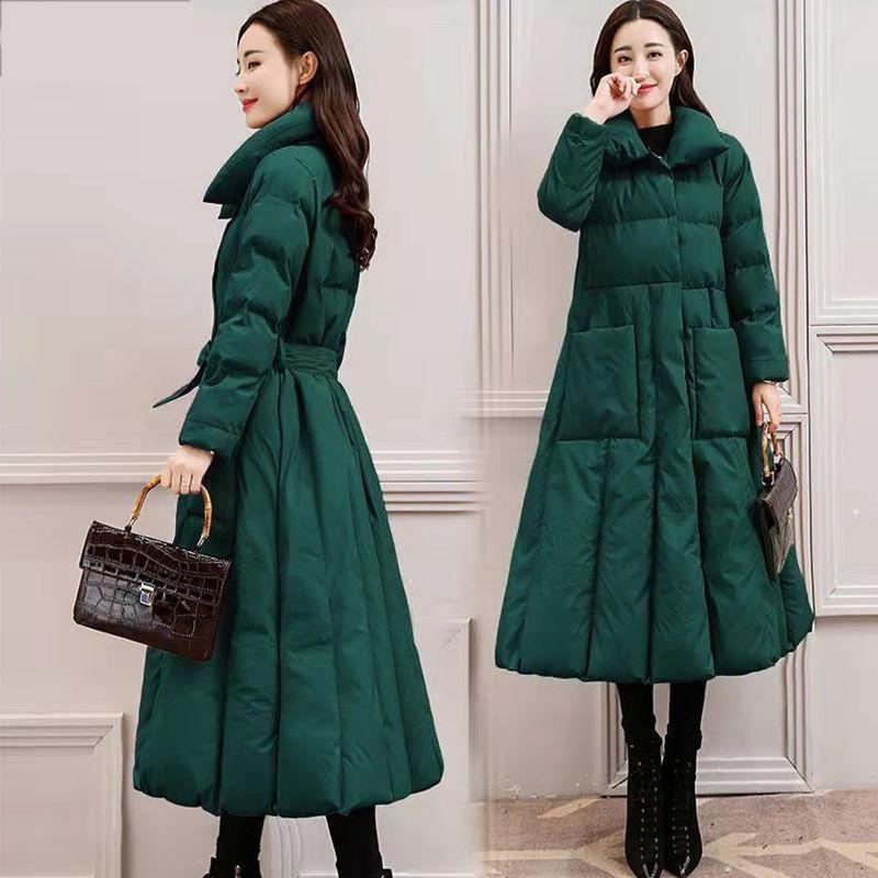 New Parka vestido estilo longo mulheres cinto mulher para baixo winter jaqueta mulheres 201027