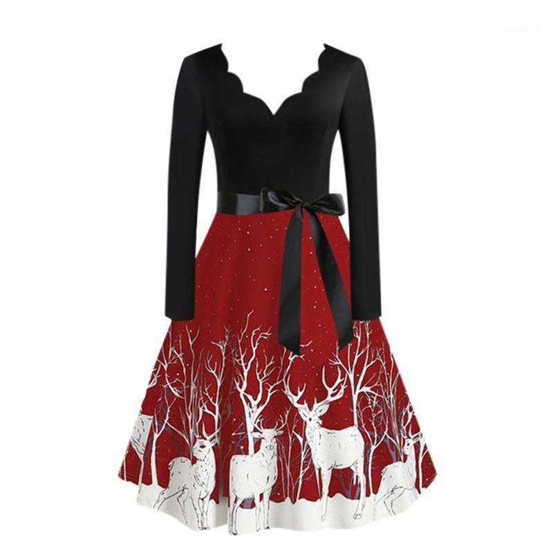 # 60 natal impressão lantejoulas retalhos de manga comprida vestido cervo skater vestidos vestido de festa elegante vestido feminino1