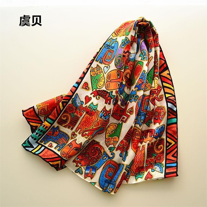 helle Cartoon Katzen langen Schal Frauen natürliche Seide Schals gedruckt Verpackungsschal Foulard femme bandana Weihnachtsgeschenk für die Dame Mädchen Y201007