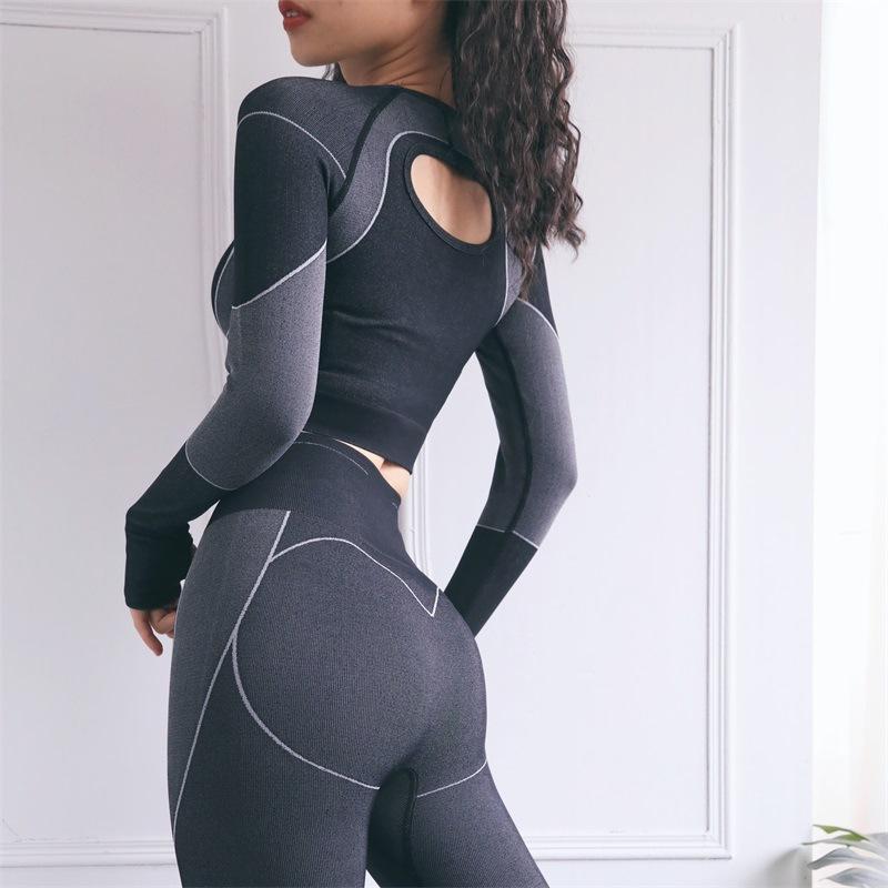 Set yoga senza soluzione di continuità Abbigliamento fitness palestra set da donna allenamento vestiti cavità manica lunga cround top high vita leggings sportswear