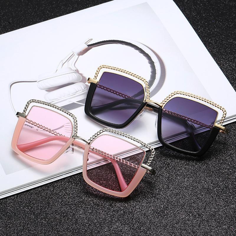 Lüks Kare Güneş Kadınlar 2020 Moda Metal Yarım Çerçeve Güneş Gözlükleri Marka Tasarım Kadın Shades Eğilimleri Gözlükler UV400