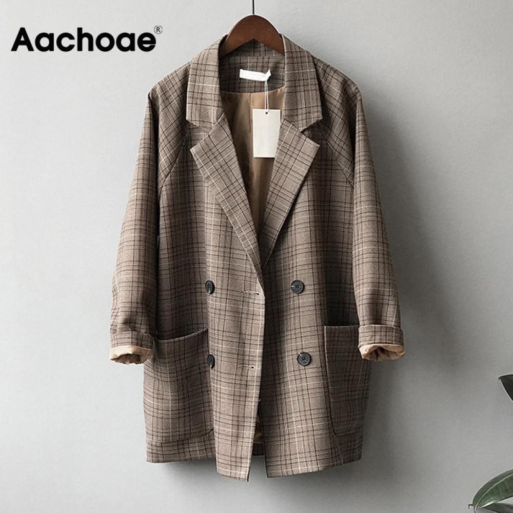 Cepler ile Kadınlar Gevşek Uzun Kollu Ofis Coat için Aachoae Vintage Ekose Blazer Ceket Casual Çift Breasted Kabanlar C 1008 Tops
