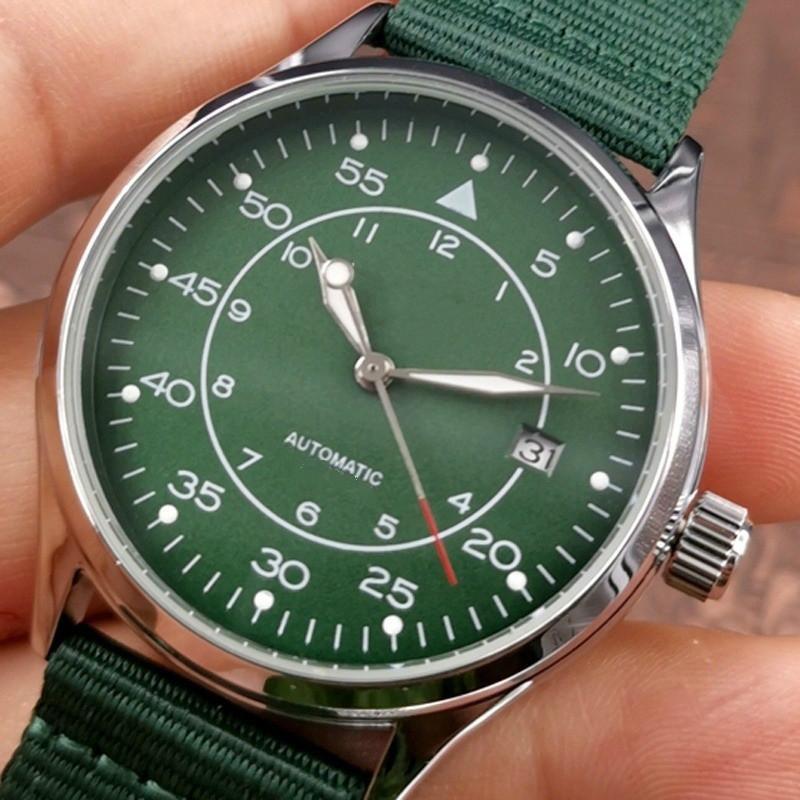 Наручные часы Мода Мужские Автоматические Часы Механические Полный календарь Повседневная Роскошные Часы для мужчин Нейлон-полоса с коробкой